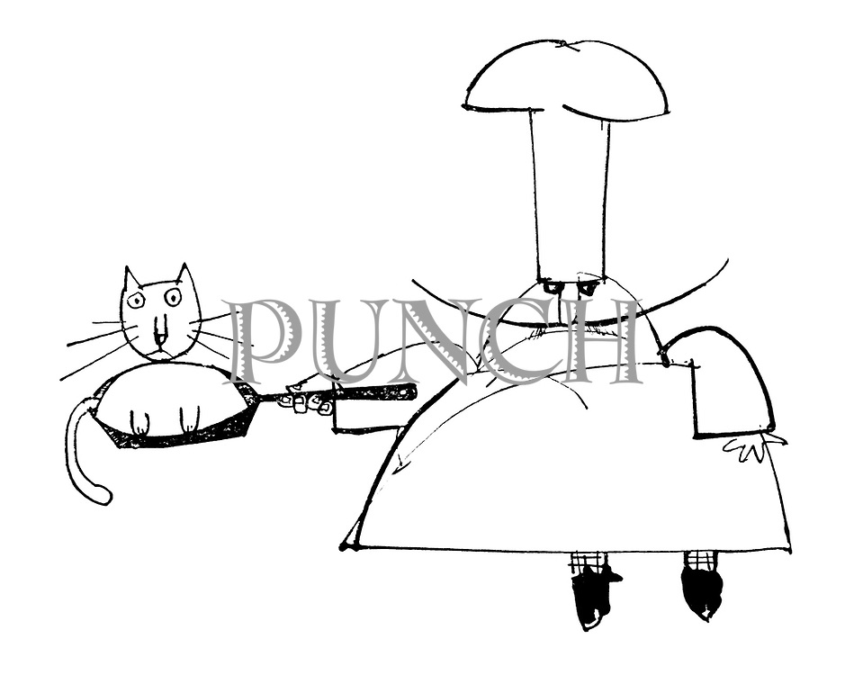 (A chef holds a frying pan with a cat sitting in it)