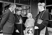 19/07/1967<br /> 07/19/1967<br /> 19 July 1967<br /> Cardinal John Cody of Chicago with American pilgrims in Drogheda. Cardinal Cody led 350 pilgrims to the shrine of Blessed Oliver Plunkett in Drogheda. There in the Cathedral he and His Eminence Cardinal William Conway Archbishop of Armagh and Primate of All Ireland consecrated Mass. After mass the Cardinals and pilgrims went to the Medical Missionaries of Mary Hospital for lunch. <br /> Picture shows (l-r): Mr Frank Aiken T.D., Minister for External Affairs; His Eminence Cardinal John Cody; Mother Mary Martin, Mother General of the Medical Missionaries of Mary and His Eminence Cardinal William Conway.