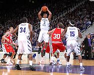 Kansas State guard Lance Harris (3) grabs a first half rebound over Texas Tech's Michael Prince (30) at Bramlage Coliseum in Manhattan, Kansas, January 8, 2007. Texas Tech defeated K-State 62-52.