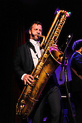 Colin Stetson performs with Kyp Malone of TV on the Radio and Jolie Holland at the afterparty for The Music of R.E.M. at Carnegie Hall held at City Winery in NYC.