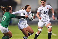 England player Kelly Smith breaks a tackle in the first half during the Women's 6 Nations match between Ireland Women and England Women at Energia Park, Dublin, Ireland on 1 February 2019.