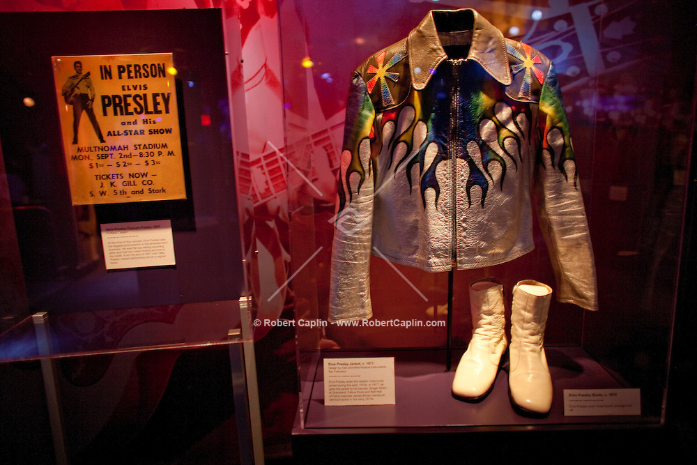Elvis memorabilia on display at The Rock and Roll Hall of Fame Annex in New York City..(Photo by Robert Caplin)..