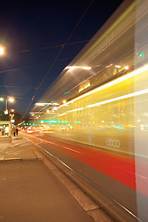 Tram night movement motion Vienna street speed
