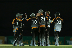 Boland captain Keegan Peterson and Stiaan Van Zyl of Boland are congratulated for getting Mathew Christensen of Eastern Province wicket during the Africa T20 cup pool D match between Boland and Eastern Province held at the Boland Park cricket ground in Paarl on the 24th September 2016.<br /> <br /> Photo by: Shaun Roy/ RealTime Images