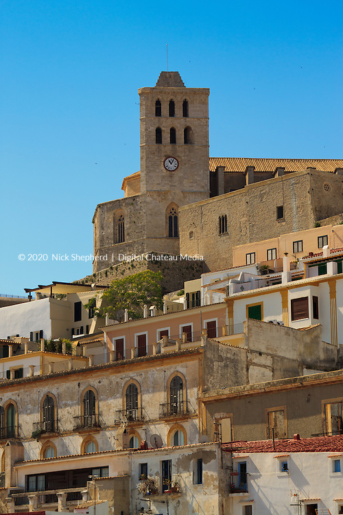 View of Ibiza Old Town and the Cathedral on the hill overlooking the port.