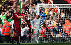 15.08.2010, Anfield, Liverpool, ENG, PL, FC Liverpool vs FC Arsenal, im Bild Liverpool's goalkeeper Pepe Reina looks dejected after fumbling the ball into the back of his own net to gift Arsenal an equalising goal in the dying minuets of the Premiership match at Anfield. l. EXPA Pictures © 2010, PhotoCredit: EXPA/ Propaganda/ David Rawcliffe / SPORTIDA PHOTO AGENCY