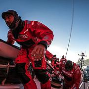 Leg 3, Cape Town to Melbourne, day 01, Willy Altadill on board MAPFRE. Photo by Jen Edney/Volvo Ocean Race. 10 December, 2017.