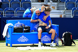 Liam Broady of Great Britain receives treatment - Mandatory by-line: Matt McNulty/JMP - 31/05/2016 - TENNIS - Northern Tennis Club - Manchester, United Kingdom - AEGON Manchester Trophy