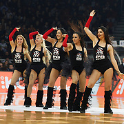 Anadolu Efes's show girls during their Turkish Airlines Euroleague Basketball Top 16 Round 7 match Anadolu Efes between Fenerbahce Ulker at Abdi ipekci arena in Istanbul, Turkey, Friday 13 February, 2015. Photo by Aykut AKICI/TURKPIX