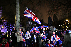 © Licensed to London News Pictures. 31/01/2020. London, UK. Supporters of Brexit celebrate in Westminster, London, on the day that the UK leaves the European Union. 51.9% of the UK population voted to leave the EU in a referendum in June 2016. Photo credit: Ben Cawthra/LNP
