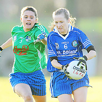 21 November 2010; Deirdre Troy, West Clare Gaels, Clare, in action against Michelle Allen, St Conleth's, Laois. Tesco All-Ireland Intermediate Ladies Football Club Championship Final, West Clare Gaels, Clare v St Conleth's, Laois, McDonagh Park, Nenagh, Co. Tipperary. Picture credit: Diarmuid Greene / SPORTSFILE *** NO REPRODUCTION FEE ***