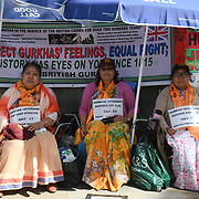 Three Gurkhas women on 24-hour hunger strike to call on the British government to match the pension