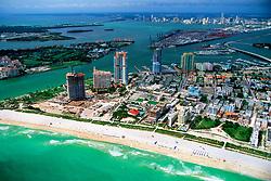 South Point of Miami Beach, Fisher Island, Virginia Key, Port of Miami, downtown Miami and Biscayne Bay, Florida, Atlantic Ocean