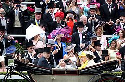 Queen Elizabeth II, the Princess Royal and Prince Andrew, Duke of York during day one of Royal Ascot at Ascot Racecourse