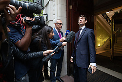 © Licensed to London News Pictures. 24/09/2019. London, UK. Rory Stewart MP speaks to media after leaving studios in Westminster, following a historic ruling by the Supreme Court this morning that Boris Johnson's decision to suspend Parliament for five weeks was unlawful. Photo credit : Tom Nicholson/LNP