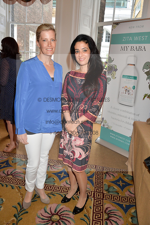 Left to right, HRH the COUNTESS OF WESSEX and PRINCESS BADIYA EL HASSAN at a breakfast hosted by Zita West and Leo Bamford to launch a range of vitamins for babies & children held at the Royal Society of Medicine, Chandos House, 2 Queen Anne Street, London on 21st May 2015.