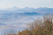 See the Blue Ridge Mountains and Wilson Creek Valley (2400 feet elevation), Pisgah National Forest, at Blue Ridge Parkway Milepost 302.0 at elevation 4356 feet, North Carolina, USA. Wilson Creek is one of the streams originating on Grandfather Mountain.