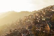 Cityscape at sunset of Shimla, India
