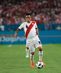 March 23, 2018 - Miami Gardens, Florida, USA - Peru midfielder Christian Cueva (8) in action during a FIFA World Cup 2018 preparation match between the Peru National Soccer Team and the Croatia National Soccer Team at the Hard Rock Stadium in Miami Gardens, Florida. (Credit Image: © Mario Houben via ZUMA Wire)