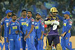 April 18, 2018 - Jaipur, Rajasthan, India - Rajasthan Royals players celebrate wicket of batsman  Sunil Narine during the IPL T20 match against Kolkata Knight Riders at Sawai Mansingh Stadium in Jaipur on 18 April,2018.(Photo By Vishal Bhatnagar/NurPhoto) (Credit Image: © Vishal Bhatnagar/NurPhoto via ZUMA Press)