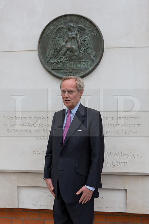 © Licensed to London News Pictures. 10/06/2015. London, UK. The 9th Duke of Wellington, CHARLES WELLESLEY at the Battle of Waterloo memorial unveling at Waterloo station in London. Photo credit : Vickie Flores/LNP