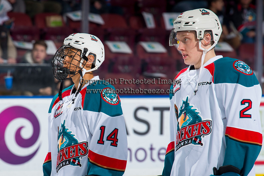 KELOWNA, CANADA - FEBRUARY 2: Trevor Wong #14 lines up with Lassi Thomson #2 of the Kelowna Rockets against the Kamloops Blazers  on February 2, 2019 at Prospera Place in Kelowna, British Columbia, Canada.  (Photo by Marissa Baecker/Shoot the Breeze)