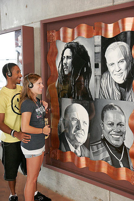 Ohio, Cincinnati, National Underground Railroad Freedom Center, couple, Black male, audio tour, famous faces,