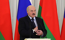 April 3, 2017 - St Petersburg, Russia - President of Belarus Alexander Lukashenko during a joint press conference with Russian President Vladimir Putin at the Konstantin Palace April 3, 2017 in St.Petersburg, Russia. The leaders meet to discuss an ongoing dispute over energy payments and announced a settlement. (Credit Image: © Mikhail Klimentyev/Planet Pix via ZUMA Wire)