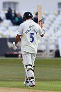 David Bedington of Durham celebrates his half century during the LV= Insurance County Championship match between Nottinghamshire County Cricket Club and Durham County Cricket Club at Trent Bridge, Nottingham, United Kingdom on 10 April 2021.