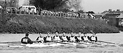 Chiswick. London.<br /> Eights starting from Mortlake<br /> Leander Club. Steve TURNER,Simon BERRISFORD, Ivor LLOYD,<br /> 1987 Head of the River Race over the reversed Championship Course Mortlake to Putney on the River Thames. Saturday 28.03.1987. <br /> <br /> [Mandatory Credit: Peter SPURRIER;Intersport images] 1987 Head of the River Race, London. UK