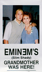 19 Jan,2006. Collect photograph. Happier days near St Joseph, Kansas. Eminem's maternal grandmother Betty Kresin with her famous rapper grandson Marshall Bruce Mathers III, aka Eminem at his first wedding to Kimberly Anne Scott in 1999. Betty (in 2006) is sad and disappointed that she and her family in Kansas, including Eminem's mother Debbie Nelson were not invited to his recent re-marriage to Kim. Betty made up this card which she would give to friends for fun.<br /> Photo Credit: Kresin via  www.varleypix.com