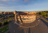 Aerial view of Roman Colosseum during morning, Rome, Italy