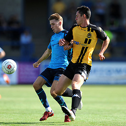 TELFORD COPYRIGHT MIKE SHERIDAN 4/8/2018 - Henry Cowans battles for the ball with Billy Priestley of Southport  during the National League North fixture between AFC Telford United and Southport FC.