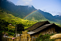 A rainbow on the mountainside of a small village outside of Sapa in northern Vietnam.