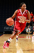 CHARLOTTESVILLE, VA- December 1: Jasmine McGhee #32 of the Indiana Hoosiers handles the ball during the game against the Virginia Cavaliers on December 1, 2011 at the John Paul Jones Arena in Charlottesville, Virginia. Virginia defeated Indiana 65-49. (Photo by Andrew Shurtleff/Getty Images) *** Local Caption *** Jasmine McGhee