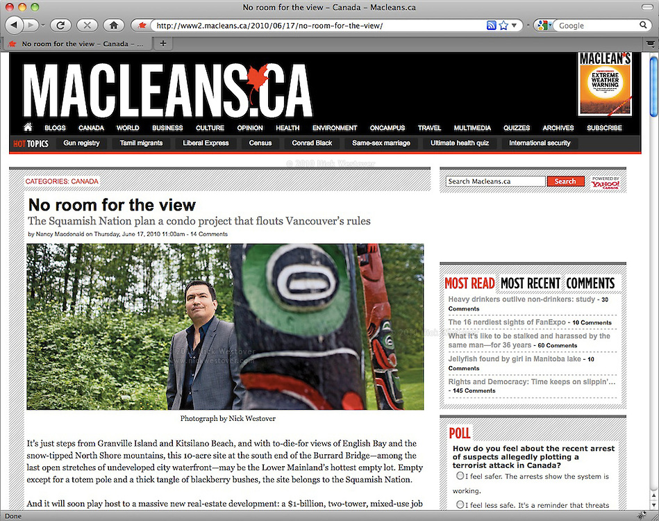 Ian Campbell, Chief, Squamish First Nation, for Macleans magazine