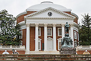 """The Rotunda building graces the grounds of the University of Virginia, in Charlottesville. Thomas Jefferson was inspired by the Pantheon in Rome and designed the Rotunda to represent the """"authority of nature and power of reason"""". Construction began in 1822 and was completed in 1826, after his death. The grounds of the new university were unique in that they surrounded a library housed in the Rotunda rather than a church, as was common at other universities in the English-speaking world. The Rotunda is seen as a lasting symbol of Jefferson's belief in the separation of church and education, as well as his lifelong dedication to both education and architecture."""