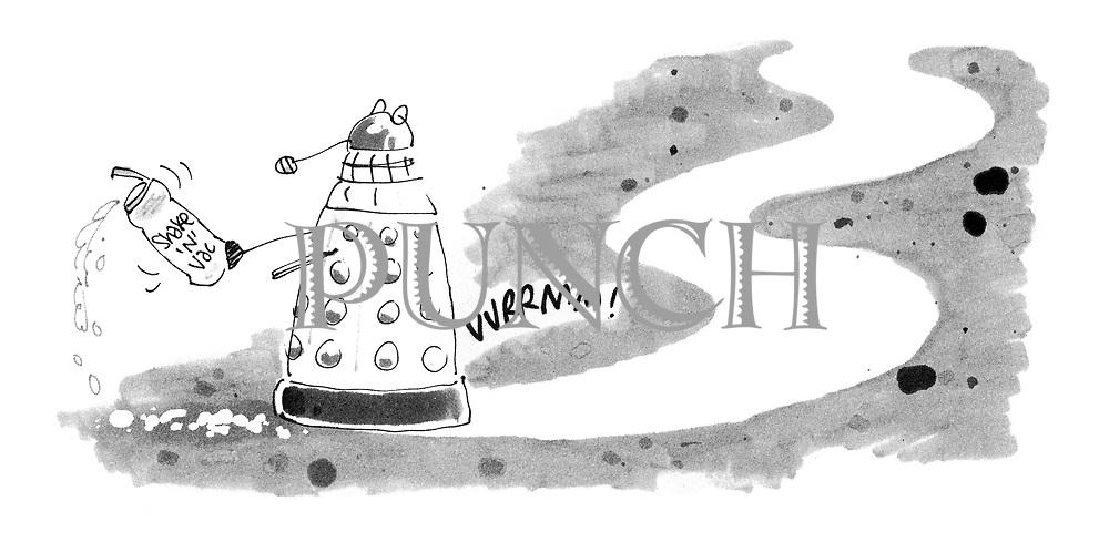 (A dalek whizzes around sprinkling Shake 'n' Vac)