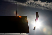 A diver jumps off the diving board at the Rose Bowl Aquatic Center on April 25th, 2019 in Pasadena, California. (Photo by Katelyn Mulcahy)