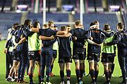 Edinburgh huddle before the Guinness Pro 14 2018_19 match between Edinburgh Rugby and Scarlets at BT Murrayfield Stadium, Edinburgh, Scotland on 2 November 2018.