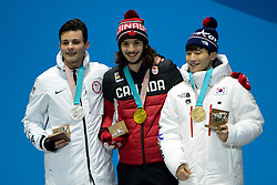 February 18, 2018 - Pyeongchang, South Korea - JOHN-HENRY KRUEGER of the United States (left) , SAMUEL GIRARD of Canada (center) and YIRA SEO of Korea with their medals from the Men's 1000m short track speed skating event in the PyeongChang Olympic Games. (Credit Image: © Christopher Levy via ZUMA Wire)