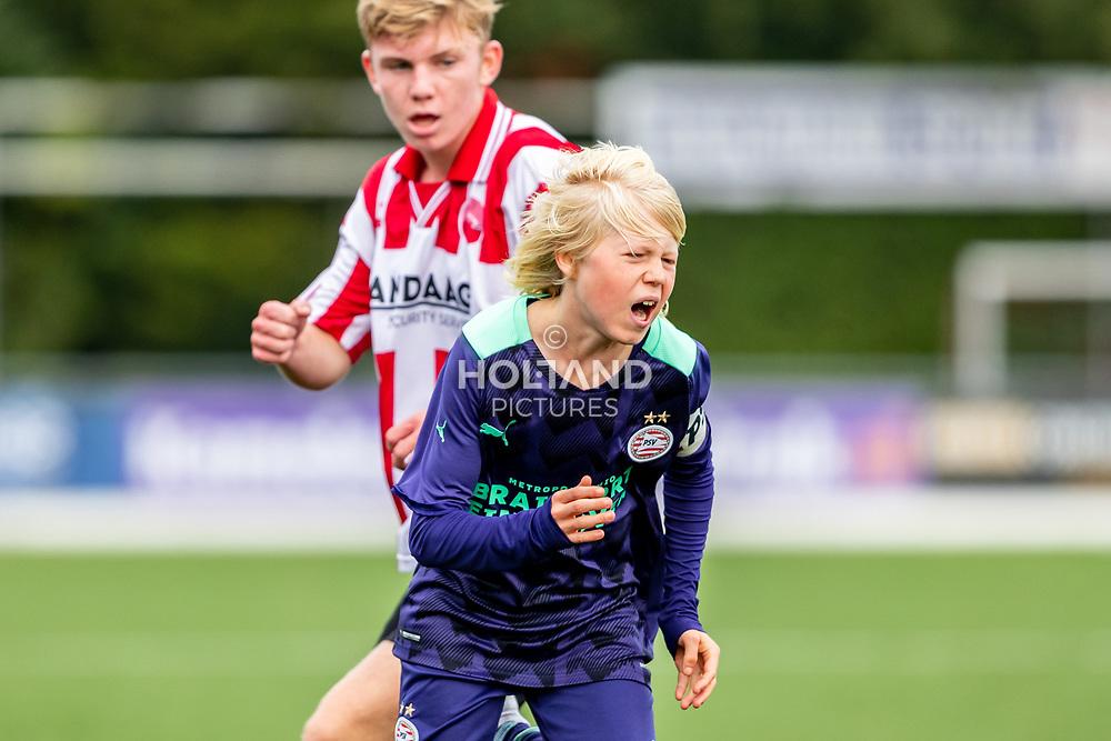 ALPHEN AAN DEN RIJN, NETHERLANDS - OCTOBER 2: #7 Isai Middag (PSV) during the Divisie 1 A NAJAAR u15 match between Alphense Boys and PSV at Sportpark De Bijlen on October 2, 2021 in Alphen aan den Rijn, Netherlands