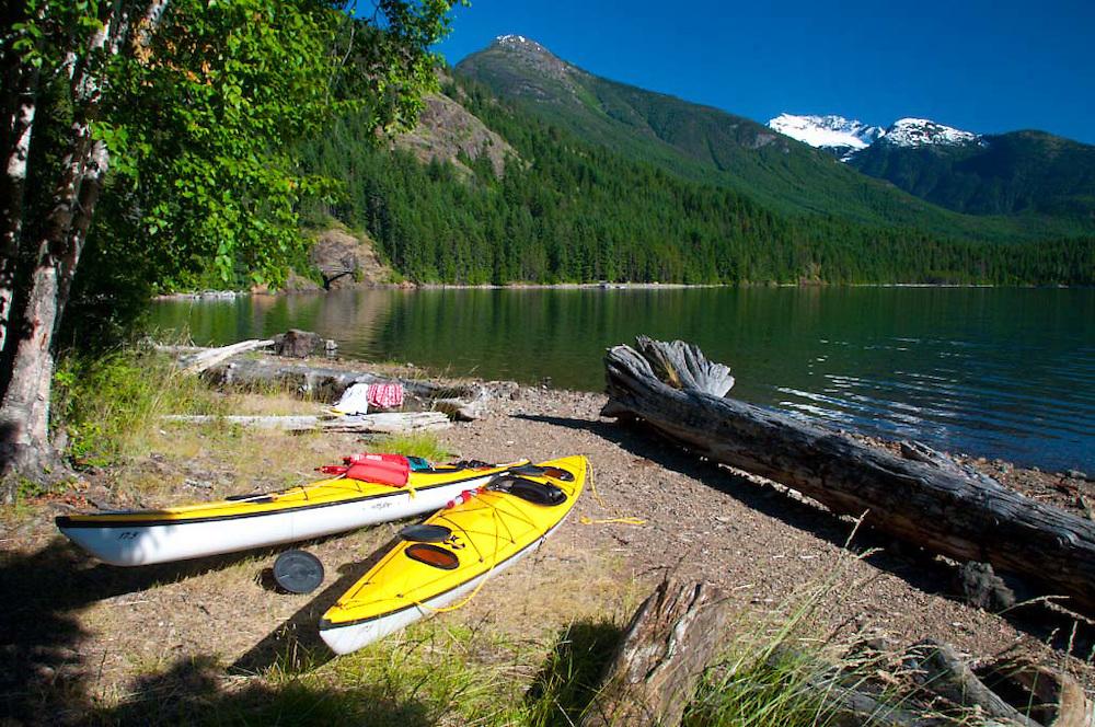 Kayaks at Campsite at Lightening Creek, Ross Lake National Recreation Area, North Cascades National Park, Washington, US