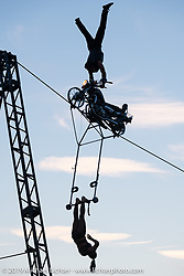 A high wire aerial motorcycle stunt show at the Volusia County Fairgrounds in Deland during Daytona Beach Bike Week, FL. USA. Friday, March 15, 2019. Photography ©2019 Michael Lichter.