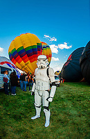 Imperial stormtrooper (Star Wars character), Balloon Fiesta Park, Albuquerque International Balloon Fiesta, Albuquerque, New Mexico USA.