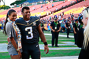 January 31 2016: Russell Wilson and Ciara pose for a photo after the Pro Bowl at Aloha Stadium on Oahu, HI. (Photo by Aric Becker)