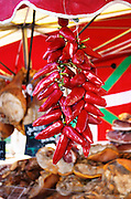 On a street market. On a street market. Red basque pimento peppers. Bordeaux city, Aquitaine, Gironde, France