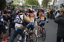 Lizzie Deignan (GBR), Anna van der Breggen (NED) and Amy Pieters (NED) of  Boels-Dolmans Cycling Team celebrate the win after the Tour de Yorkshire - a 122.5 km road race, between Tadcaster and Harrogate on April 29, 2017, in Yorkshire, United Kingdom.