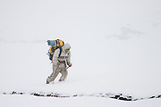 Yuri, a young Peruvian guide from Cuzco, struggles through a blizzard and over a high pass enroute to the village of Q'eros in the Cordillera de Paucartambo, Andes Mountains, Peru on September 14, 2005.