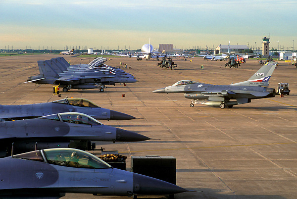 Jets parked at Ellington Field